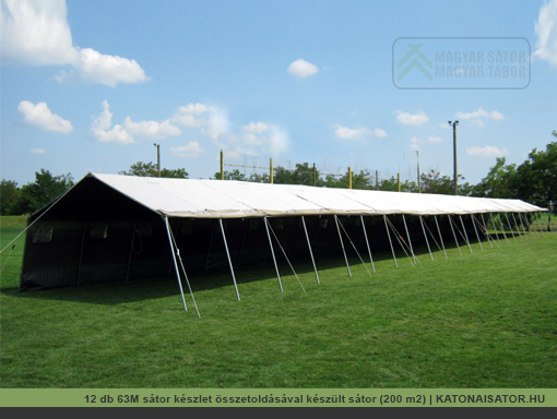 12 db 63M sátor készlet összetoldásával készült sátor | katonaisator.hu