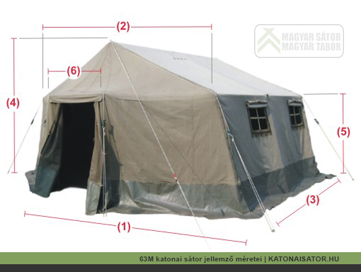 A 63M katonai sátor egyes jellemző méretei | katonaisator.hu