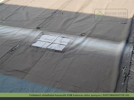 Feltekert oldalfallal használt 63M katonai sátor ponyva | KATONAISATOR.HU